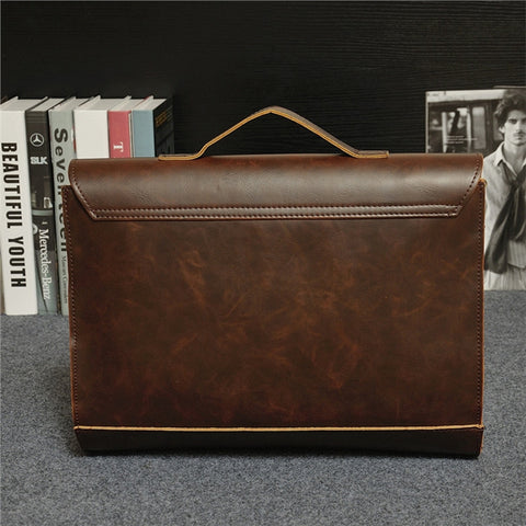PU Leather Vintage Retro Business Work Men Briefcase