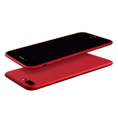 Phone Cover Slim TPU Case Solid Color Frosted Soft Protector Shell for iPhone 7 Plus (Red)