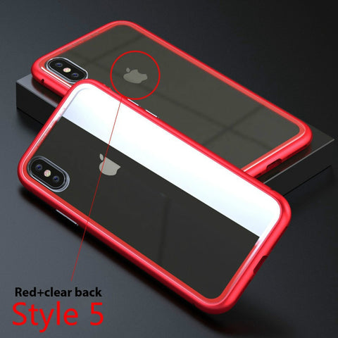 Metal Cell Phone Accessories Glass Case Phone Shell Transparent Tempered Glass