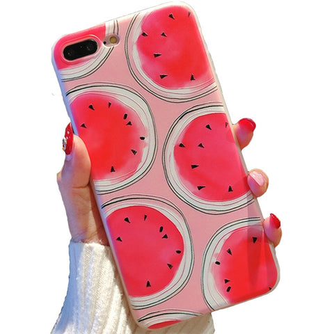 Phone Cover Watermelon Pattern TPU Case Protector Shell for iPhone 8 Plus / 7 Plus (Pink)