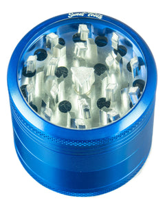Blue 4-Piece Medium Diamond Teeth Clear Top Aluminum Grinder