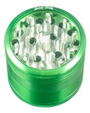 Green 4-Piece Medium Diamond Teeth Clear Top Aluminum Grinder