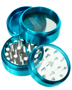 Sweet Tooth 4-Piece Medium Diamond Teeth Clear Top Aluminum Grinder