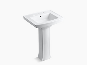 "Pedestal bathroom sink with 8"" widespread faucet holes"