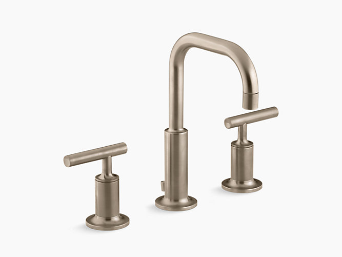 Purist  Widespread bathroom sink Purist faucet with low lever handles and low gooseneck spout