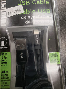 Uniden sync & charge usb 6ft lightning cable.