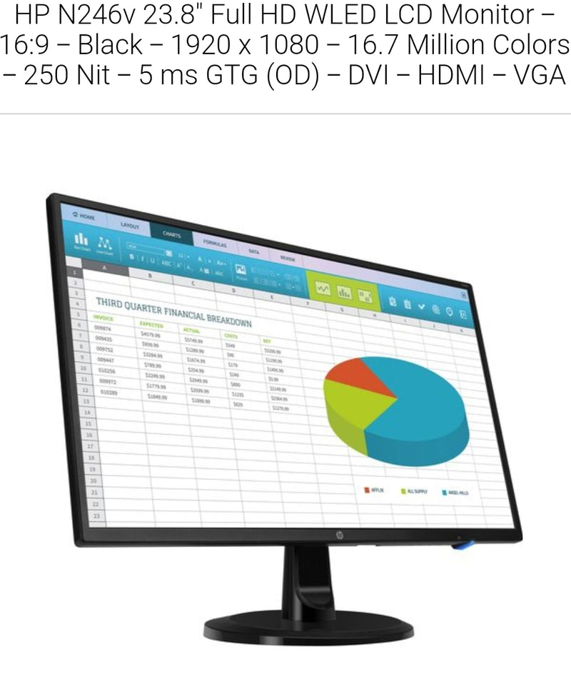 "HP N246v 23.8"" Full HD WLED LCD Monitor - 16:9 - Black - 1920 x 1080 - 16.7 Million Colors - 250 cd/m² - 5 ms GTG (OD) - DVI - HDMI - VGA"