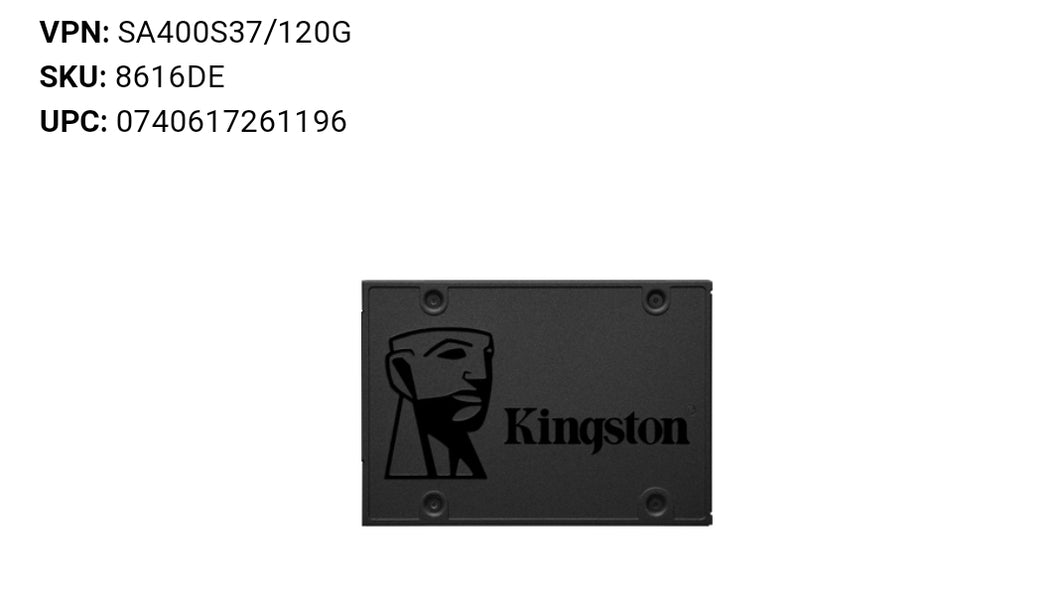 Kingston A400 120 GB Solid State Drive - 2.5