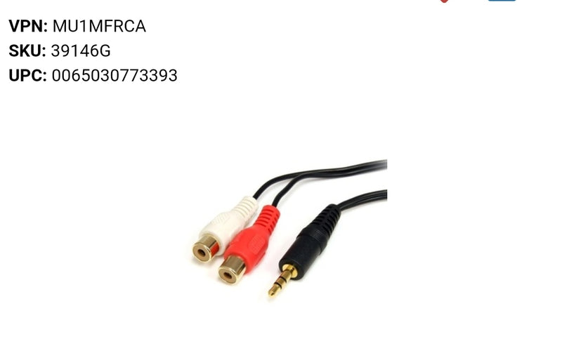 Startech RCA Audio Cable - 6ft - 1 x 3.5mm, 2 x RCA - Audio Cable
