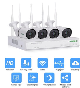 4 channels wifi security camera systems .white