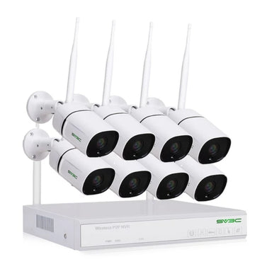 8 channels wifi security camera systems. White