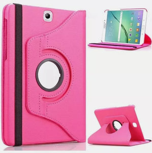 360 Rotating Leather Case Stand Cover for Samsung Tab T377 Pink
