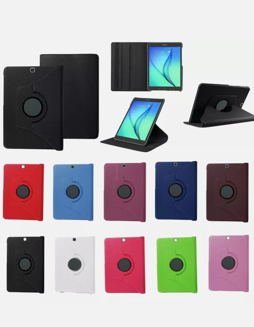 360 Rotating Leather Case Stand Cover for Samsung Tab   T715
