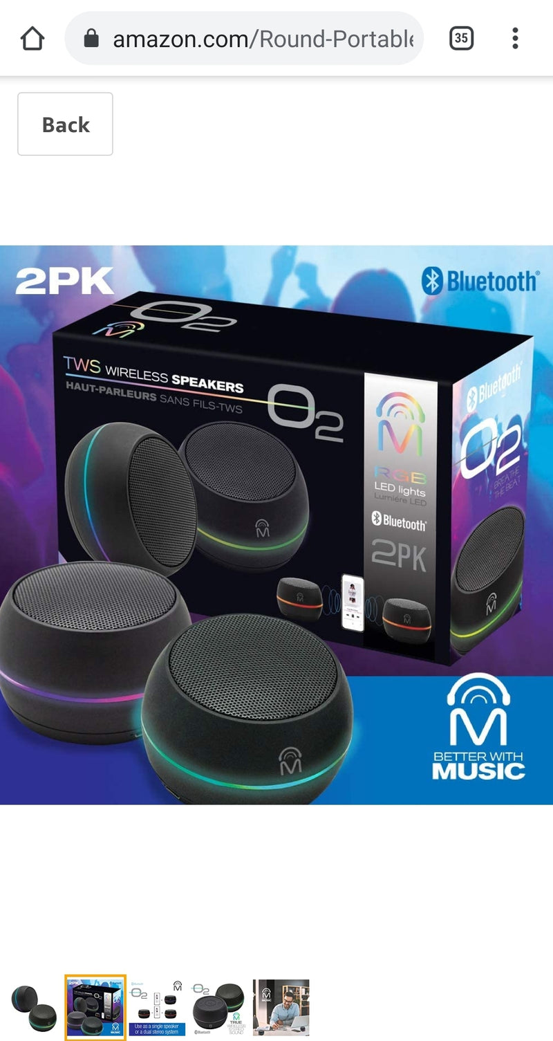 Portable Bluetooth Speakers with LED Lights - Double Pack - Stereo Sound - Black