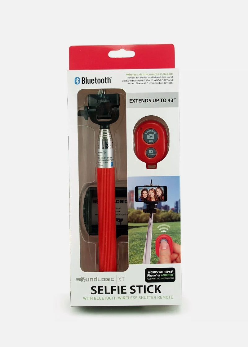 SOUNDLOGIC XT SELFIE STICK WITH BLUETOOTH WIRELESS SHUTTER REMOTE, red,black,blue