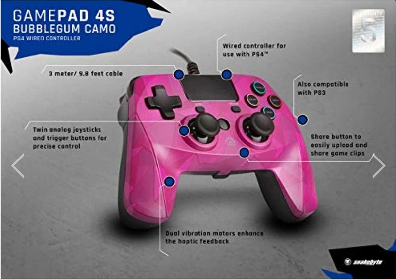SNAKEBYTE GAMEPAD S - WIRED PS4 CONTROLLER - BUBBLEGUM CAMO - PLAYSTATION 4