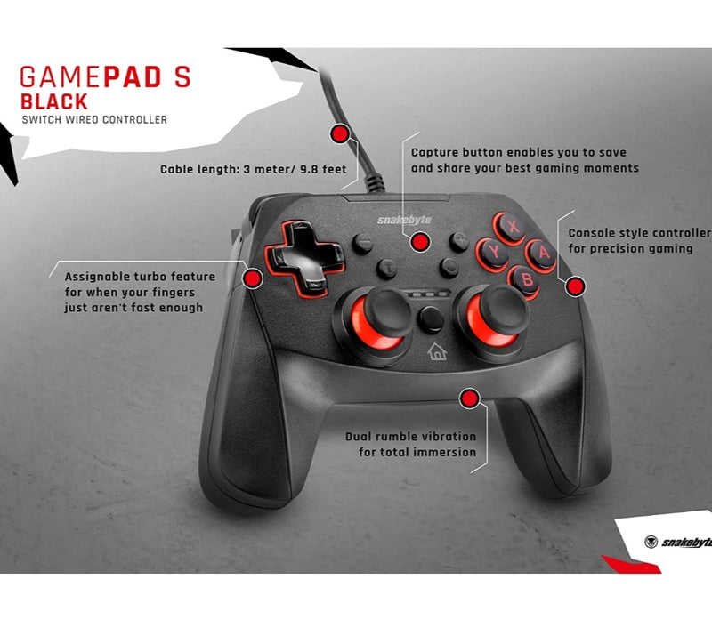 Snakebyte NSW Game:Pad S - Wired Controller Nintendo Switch Controller
