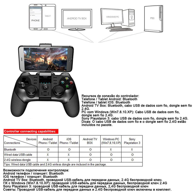 Ipega Bluetooth Gamepad Controller For Android Cell  Phone TV Box PC PS3 VR