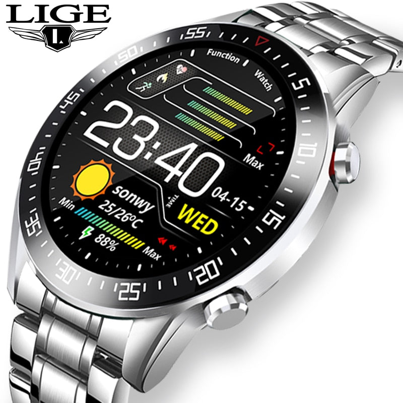 LIGE Full circle touch screen Mens Smart Watches