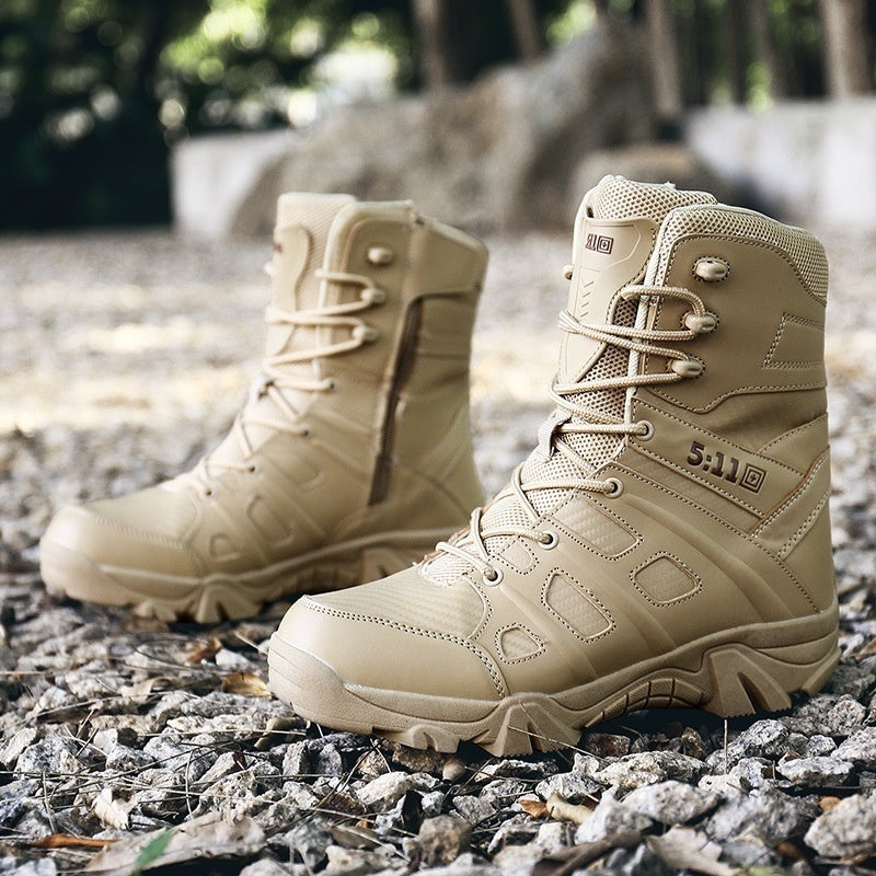 fc078f41d6e High Quality Mens Military Tactical Boots Waterproof Hiking Combat Boots  Army Comp Toe Side Zip Work Boots 41-46