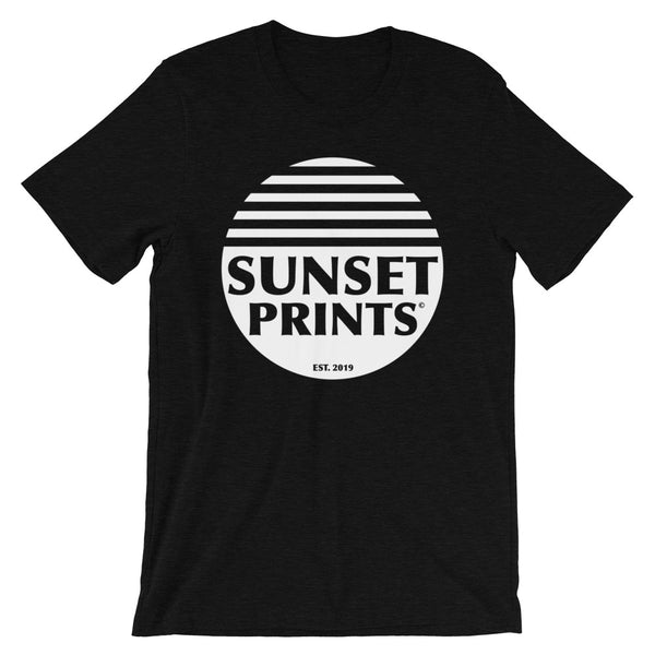 Sunset Prints Logo Heather Black Unisex T-Shirt