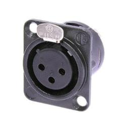 Neutrik NC3FD-L-1-B 3-Pin XLR Female Receptacle Black Housing Gold Contacts