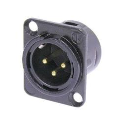 Neutrik NC3MD-L-1-B 3-Pin XLR Male Receptacle Black Housing Gold Contacts