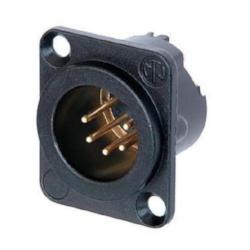 Neutrik NC5MD-LX-B 5-Pin XLR Male Receptacle Black Housing Gold Contacts