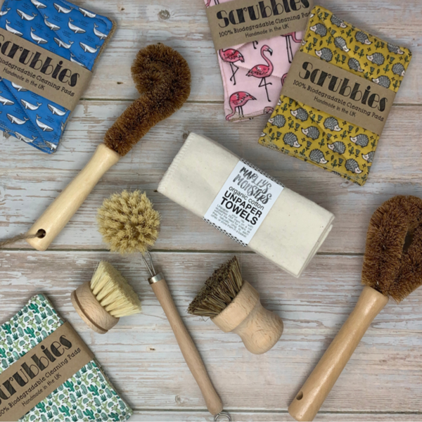Eco friendly dish brushes and reusable sustainable sponges