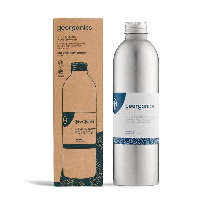 georganics oil pulling mouthwash in aluminium bottle and brown box