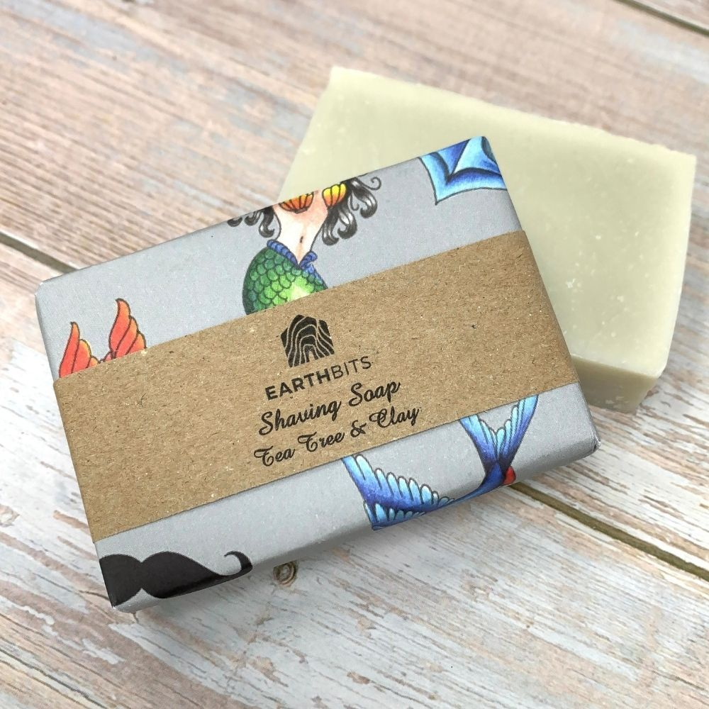 eco friendly shaving soap for men with tea tree and clay