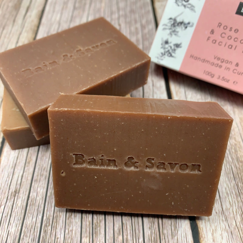 brick colour 3 soaps by bain and savon with logo on one of the bars