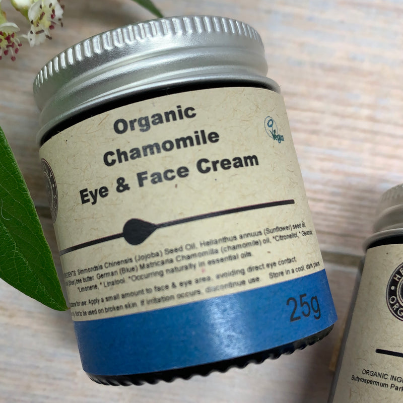 organic chamomile face lotion in 25g jar made by heavenly organics