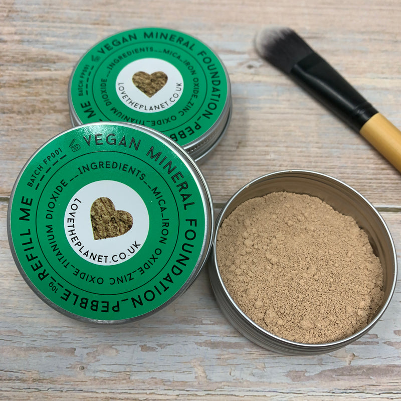pebble colour foundation powder in reusable metal container with green cap by love the planet and foundation brush