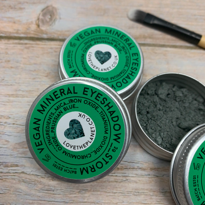 vegan mineral eyeshadow metal tins with love the planet logo in