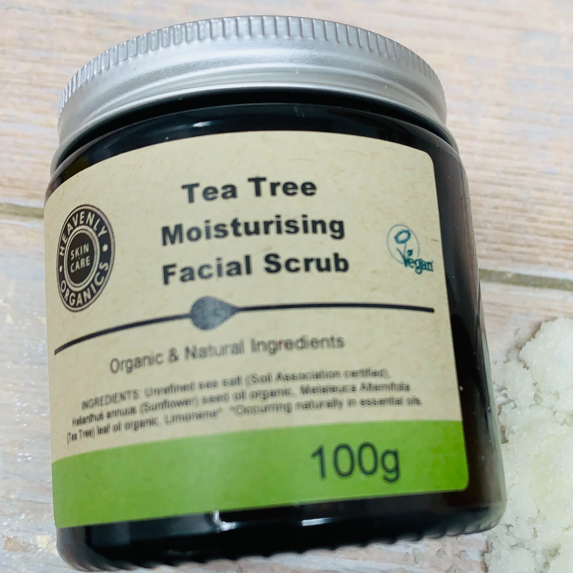tea tree moisturing facial scrub by heavenly organics