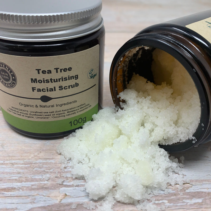 face scrub rich in tea tree and salt in plastic free packaging and made with organic ingredients