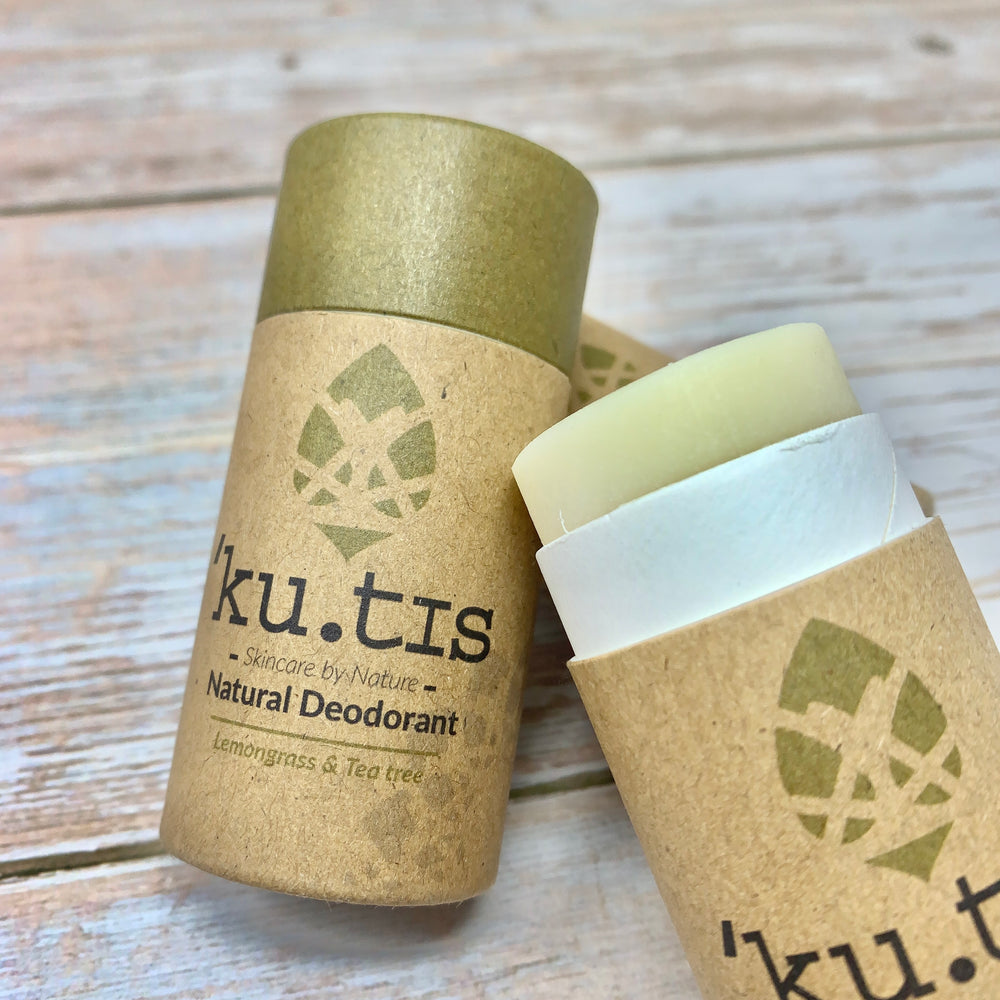 kutis ecofriendly lemongrass and tea tree deodorant, one tube is closed and the other open showing the deodorant stick