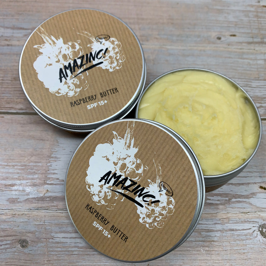 vegan mineral butter suncream by amazing with raspberry formula