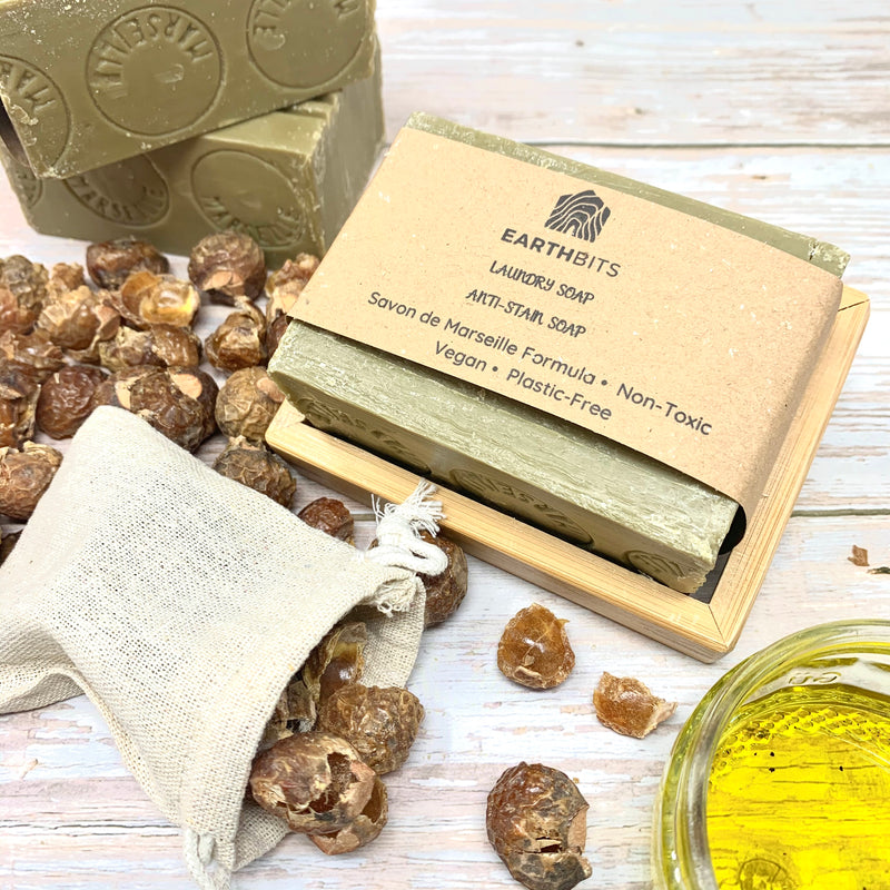 eco-friendly laundry products including anti stain marseille soap bar and soap nuts