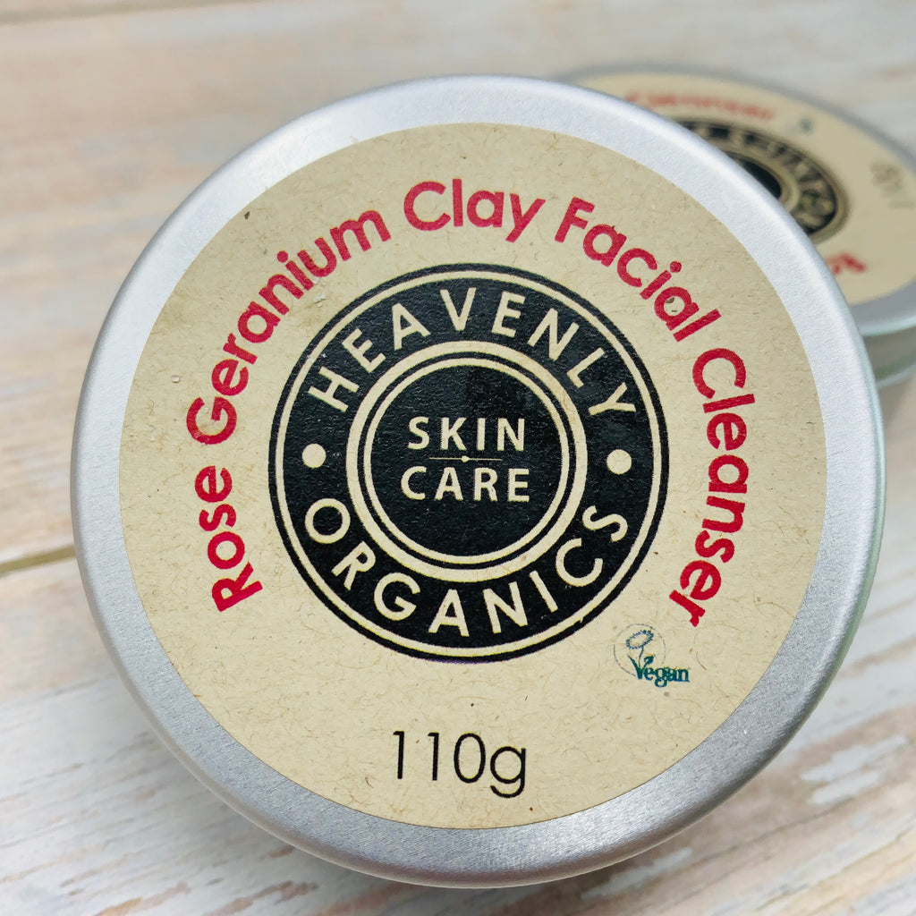 rose geranium clay facial cleanser by heavenly organics in reusable aluminium container