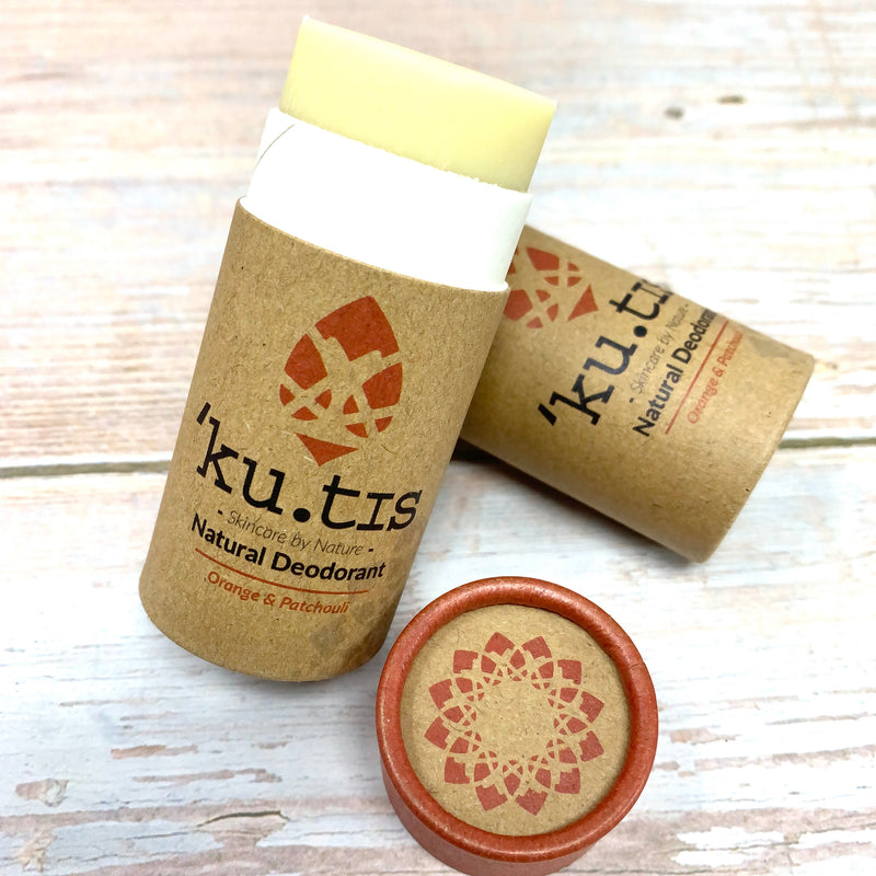 deodorant tube made with cardboard paper and natural ingredients from kutis skincare