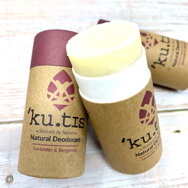 plastic free deodorant with kutis logo and brown paper-made recyclable stick
