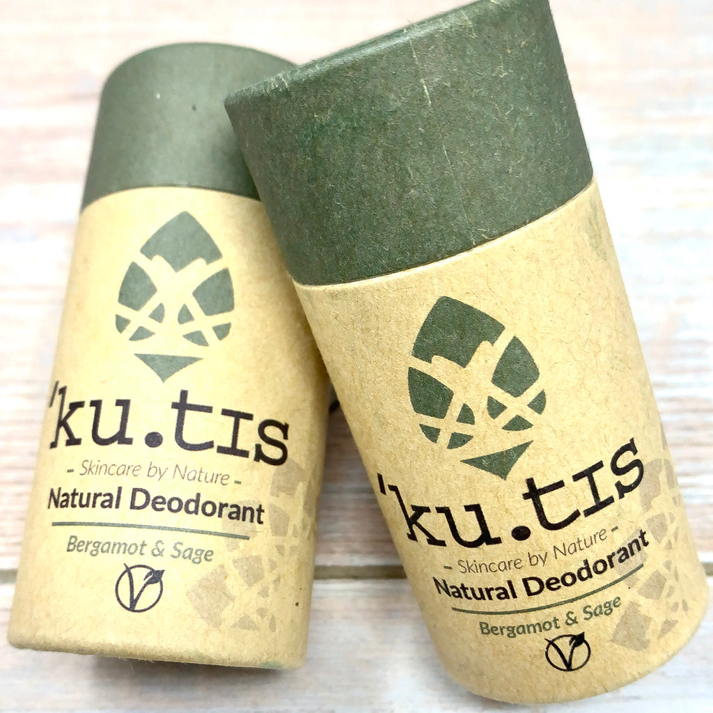 vegan deodorant in cardboard packaging and green cap fully recyclable by skincare company kutis