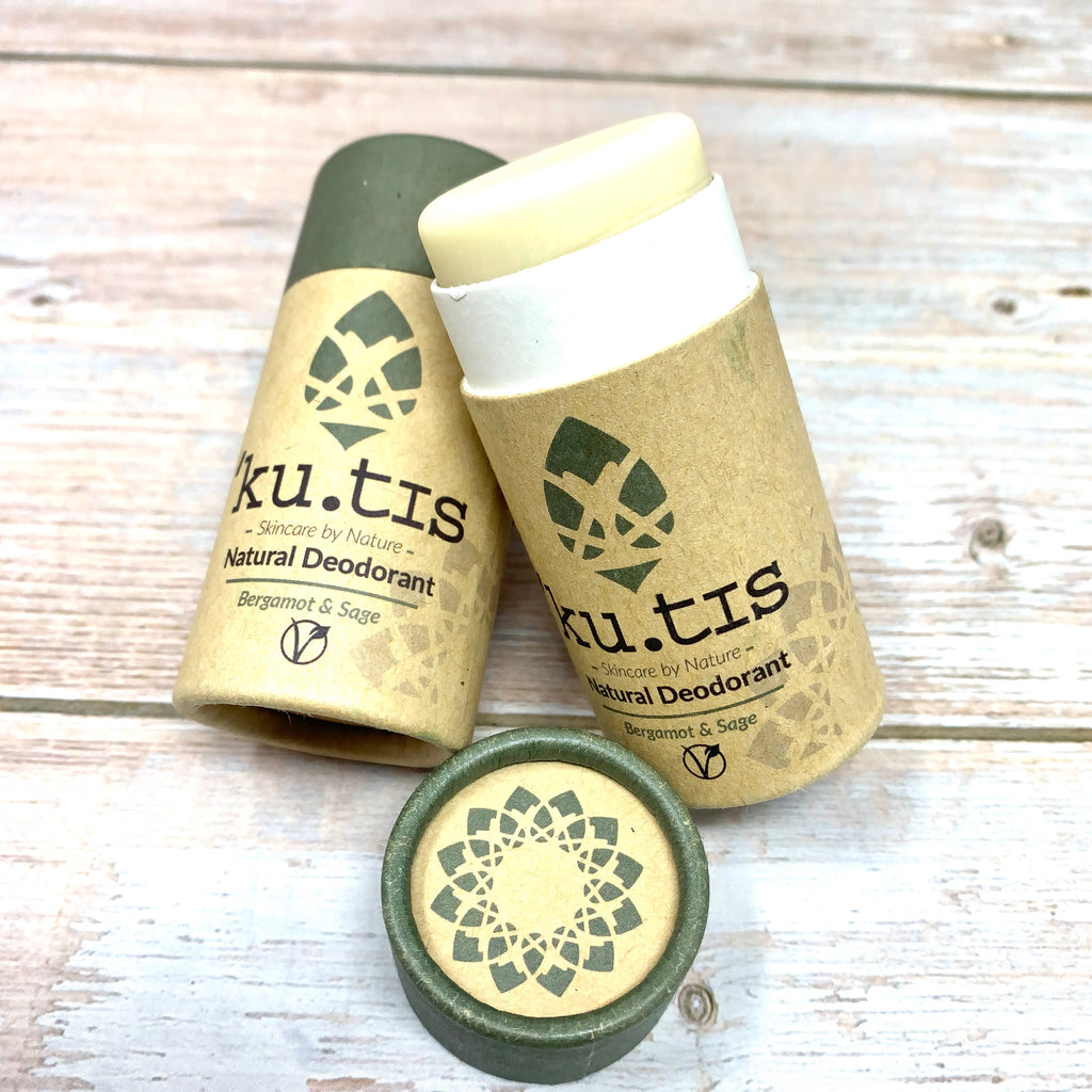 natural deodorant with bergamot and sage by kutis in paperboard tube