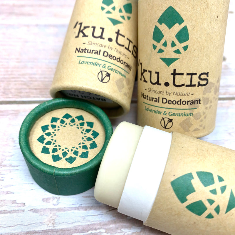 deodorant stick by kutis with lavender and geranium in paper stick