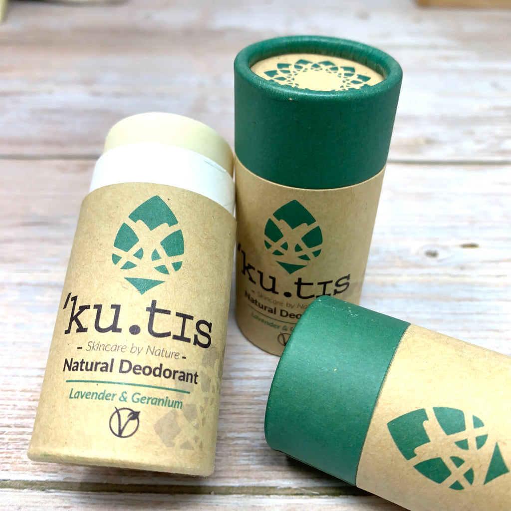 organic deodorants by kutis in paperboard push up tube fully recylclable made with brown and green paper