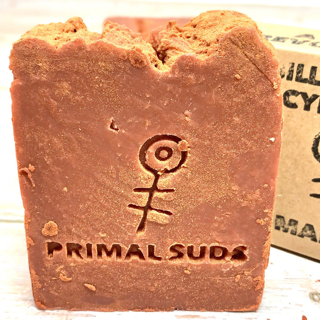 red organic primal suds soap with rose powder