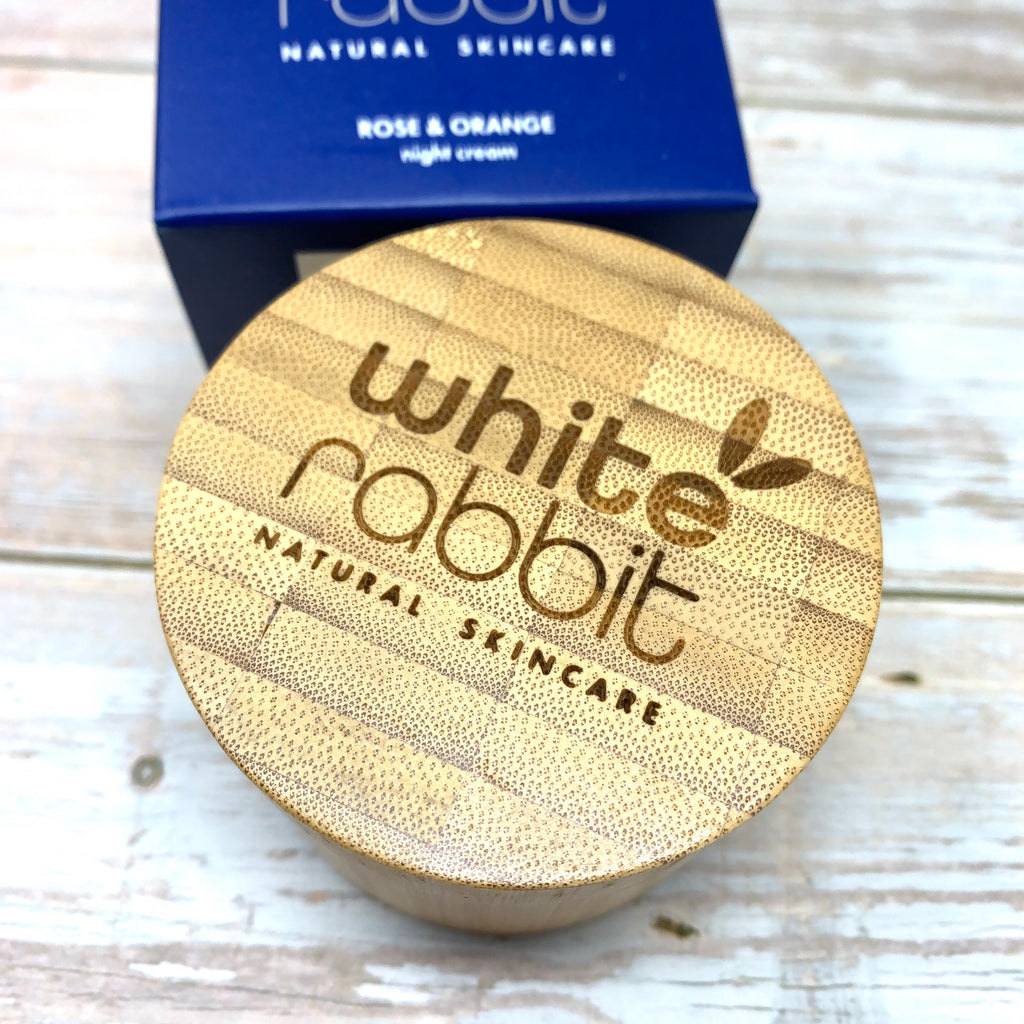 night cream by white rabbit with bamboo reusable container