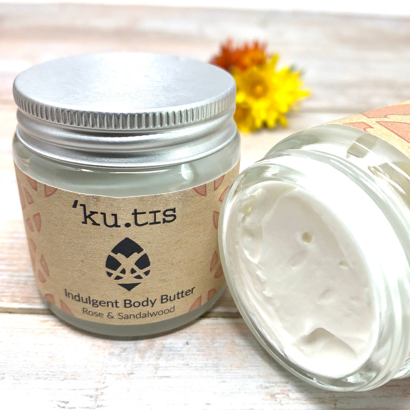 creamy natural body butter with natural rose by kutis